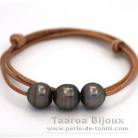 Leather Necklace and 3 Tahitian Pearls Ringed C from 12.8 to 12.9 mm