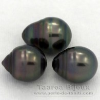 Lot of 3 Tahitian Pearls Ringed C from 10.5 to 10.8 mm