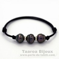 Waxed cotton Bracelet and 3 Tahitian Pearls Ringed C from 10.2 to 10.5 mm