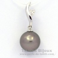 .925 Solid Silver Pendant and 1 Tahitian Pearl Round C (A+) 9.8 mm