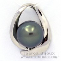 .925 Solid Silver Pendant and 1 Tahitian Pearl Round C 10.9 mm