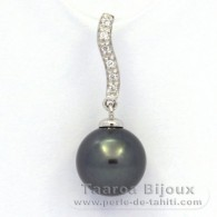 .925 Solid Silver Pendant and 1 Tahitian Pearl Round C (A+) 9.9 mm