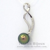 .925 Solid Silver Pendant and 1 Tahitian Pearl Round C+ 9.4 mm
