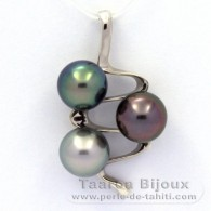 .925 Solid Silver Pendant and 3 Tahitian Pearls Round C from 9.6 to 9.7 mm