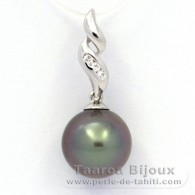 .925 Solid Silver Pendant and 1 Tahitian Pearl Round C 10.4 mm