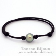 Waxed cotton Bracelet and 1 Tahitian Pearl Round C 9.7 mm
