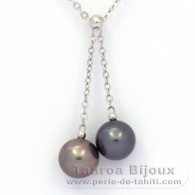 .925 Solid Silver Necklace and 2 Tahitian Pearls Round C 8.8 mm
