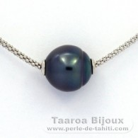 .925 Solid Silver Necklace and 1 Tahitian Pearl Ringed B 12.5 mm