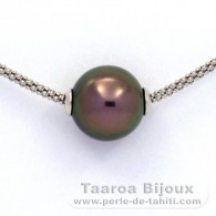.925 Solid Silver Necklace and 1 Tahitian Pearl Round C+ 11.6 mm