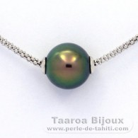 .925 Solid Silver Necklace and 1 Tahitian Pearl Round C+ 11.3 mm