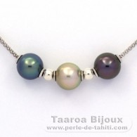 .925 Solid Silver Necklace and 3 Tahitian Pearls Semi-Round C+ from 10.7 to 11 mm