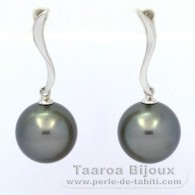 .925 Solid Silver Earrings and 2 Tahitian Pearls Round C 10.6 mm
