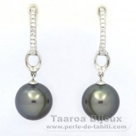 .925 Solid Silver Earrings and 2 Tahitian Pearls Round C 10.5 mm