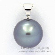 18K Solid White Gold Pendant and 1 Tahitian Pearl Round B+ 13.4 mm