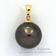 18K solid Gold Pendant and 1 Tahitian Pearl Round B 12.8 mm
