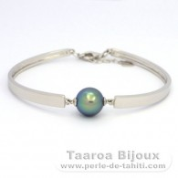 .925 Solid Silver Bracelet and 1 Tahitian Pearl Round C+ 10.6 mm