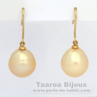 18K solid Gold Earrings and 2 Australian Pearls Semi-Baroque C 11 mm