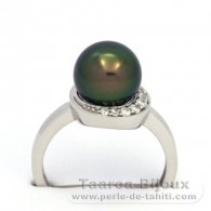.925 Solid Silver + Rhodium Ring and 1 Tahitian Pearl Round C+ 9.2 mm