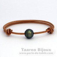 Waxed Cotton Bracelet and 1 Tahitian Pearl Ringed C 11.4 mm