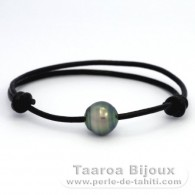 Leather Bracelet and 1 Tahitian Pearl Ringed C 11.9 mm