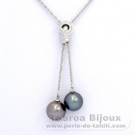 .925 Solid Silver Necklace and 2 Tahitian Pearls Round C 11 and 11.2 mm