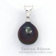 18K Solid White Gold Pendant and 1 Tahitian Pearl Semi-Baroque A 9.3 mm