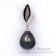 .925 Solid Silver Pendant and 1 Tahitian Pearl Semi-Baroque B 9.6 mm