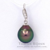 .925 Solid Silver Pendant and 1 Tahitian Pearl Semi-Baroque C 9.2 mm