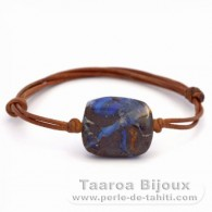 Leather Bracelet and 1 Boulder Australian Opal - 25 carats