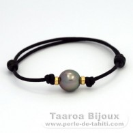 Waxed Cotton Bracelet and 1 Tahitian Pearl Semi-Round B 10.1 mm