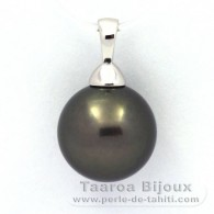 .925 Solid Silver Pendant and 1 Tahitian Pearl Round C 12.2 mm