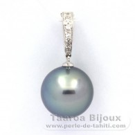 .925 Solid Silver Pendant and 1 Tahitian Pearl Round C 13.8 mm