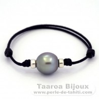 Waxed Cotton Bracelet and 1 Tahitian Pearl Semi-Baroque B/C 14 mm