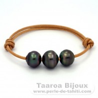 Leather Bracelet and 3 Tahitian Pearls Ringed C from 12.5 to 13.5 mm