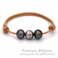Leather Bracelet and 3 Tahitian Pearls Semi-Baroque B from 11 to 11.3 mm