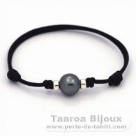 Waxed Cotton Bracelet and 1 Tahitian Pearl Round C 10 mm