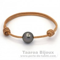 Leather Bracelet and 1 Tahitian Pearl Round C 12.3 mm