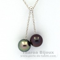 .925 Solid Silver Necklace and 2 Tahitian Pearls Round C+ 9.6 and 9.7 mm