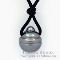 Waxed Cotton Necklace and 1 Tahitian Pearl Ringed C 13 mm