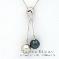 Rhodiated Sterling Silver Necklace and 2 Tahitian Pearls Round C+ 10.8 and 10.9 mm