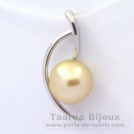 Rhodiated Sterling Silver Pendant and 1 Tahitian Australian Pearl Round C 9.9 mm
