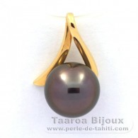 18K solid Gold Pendant and 1 Tahitian Pearl Round B 9.1 mm