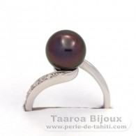 .925 Solid Silver + Rhodium Ring and 1 Tahitian Pearl Round B+ 8.8 mm