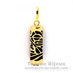 18K Gold Pendant and Black Agate - 17 mm - Piroguier
