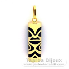 18K Gold Pendant and Black Agate - 21 mm - Luck