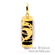 18K Gold Pendant and Black Agate - 21 mm - Shark