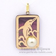 18K Gold + Mother-of-Pearl Pendant and 1 half Tahitian Pearl - Dimensions = 28 x 19 mm - Dolphin