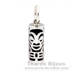 Silver and Black Agate Tiki - 15 mm - Health