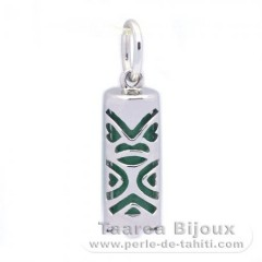 Silver and Aventurine Tiki - 15 mm - Luck