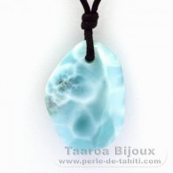 Waxed cotton Necklace and 1 Larimar - 32.2 x 22.4 x 8.9 mm - 9.3 gr